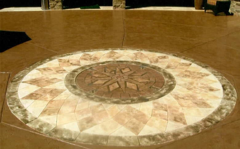Decorative Concrete Stamp Sundial made with Life Deck 20 Series Stain