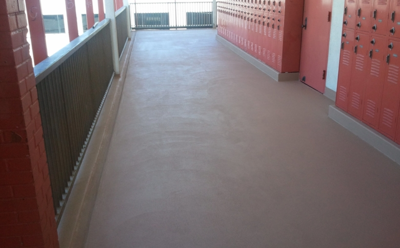 School Hallway with Life Deck MC Waterproofing System and 10 Series Top Coat