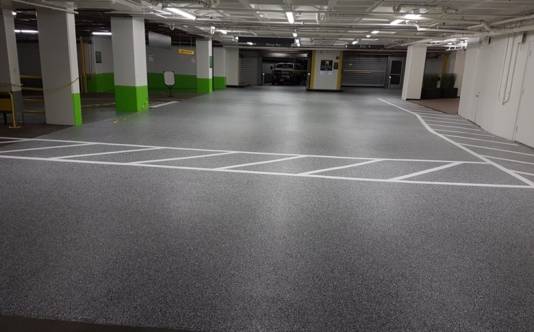 Polyurea-parking-garage-stripping-