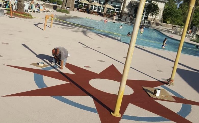 Custom Designed Textured Concrete Finish with Heat Reflective Coating Cool Life